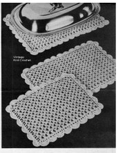 Crocheted Mats Pattern, Scalloped Lace Border in three sizes