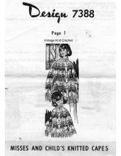 Mother Daughter Knitted Cape Pattern, Mail Order 7388