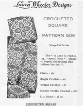 Pineapple Square Crochet Pattern, Mail Order 509