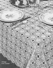 Vintage crochet Tablecloth Pattern, Cluster Stitch Square