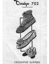 Crochet Slippers Pattern, Boots, Mail Order 702