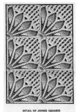 Pineapple Fan Crochet Square Tablecloth Pattern, Alice Brooks 7191