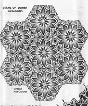 Crochet Tablecloth Pattern, Hexagon Medallions, Alice Brooks 7587