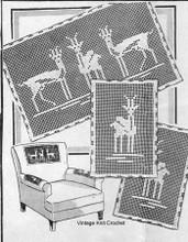 Vintage Filet Crochet Deer Doily Pattern, Mail Order 5358