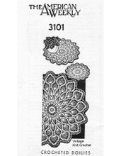 Large Pineapple Crochet Doilies Pattern, Mail Order 3101