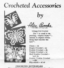 Crochet Butterfly Applique Pattern, Mail Order 7334