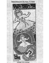 Vintage Cinderella Filet Crochet Pattern, Needlework Bureau E-949