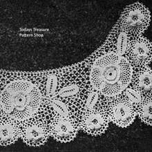 Vintage Irish Rose Crocheted Collar, Anne Wuenfel Brown
