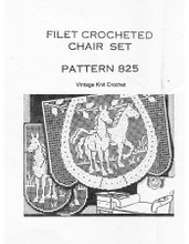 Filet Crocheted Horses Pattern, Chair Set, Mail Order 825