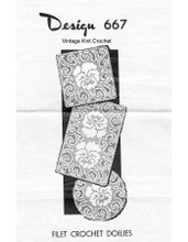 Filet Crocheted Pansy Doilies Pattern, Laura Wheeler 667