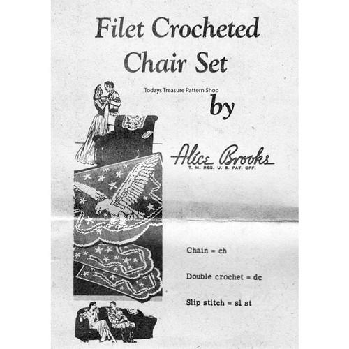 American Eagle Filet Crochet Pattern Chair Set