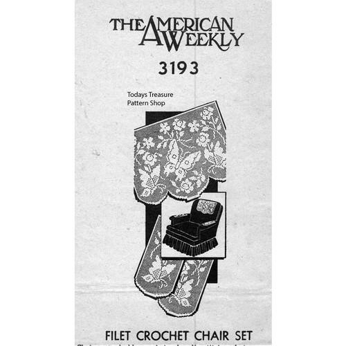 Butterfly Filet Crochet Chair Set Pattern No 3193