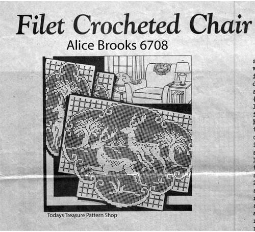 Alice Brooks Filet Crocheted Chair Set Pattern