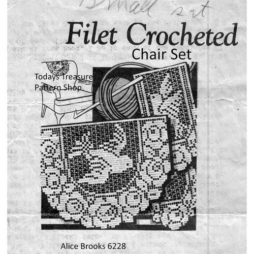 Dove Roses Filet Crochet Chair Set Scarf Pattern, Design 6228