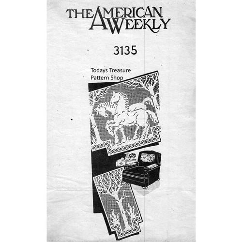 American Weekly 3135 Horses Filet Crochet Pattern