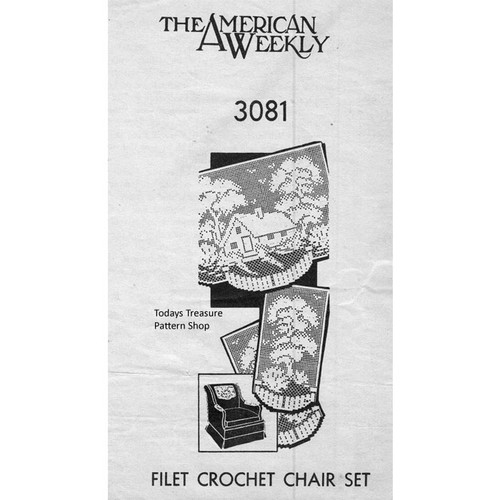 American Weekly 3081 Home Filet Crochet Pattern