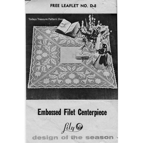 Embossed Filet Crocheted Cloth Pattern