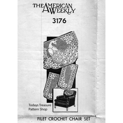 American Weekly 3176, Filet Crochet Peacock