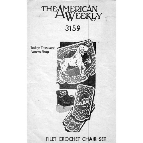Mail Order Design 3159, Filet Crochet Dog