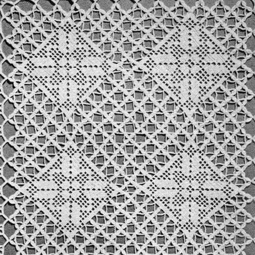 Vintage Filet Crochet Diamond Squares Pattern