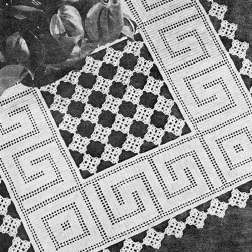 Filet Crocheted Greek Key Doily Pattern