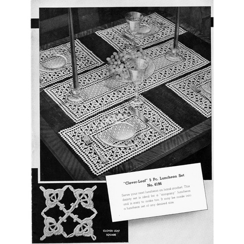 Vintage Filet Crochet Luncheon Set