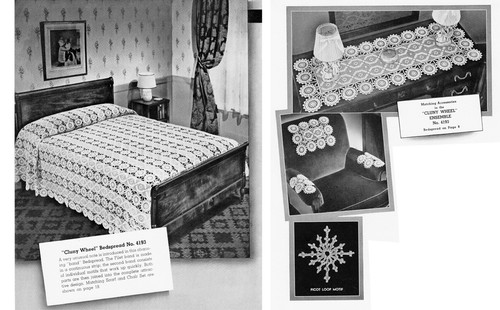 Vintage Cluny Wheel Filet Crochet Bedroom Set