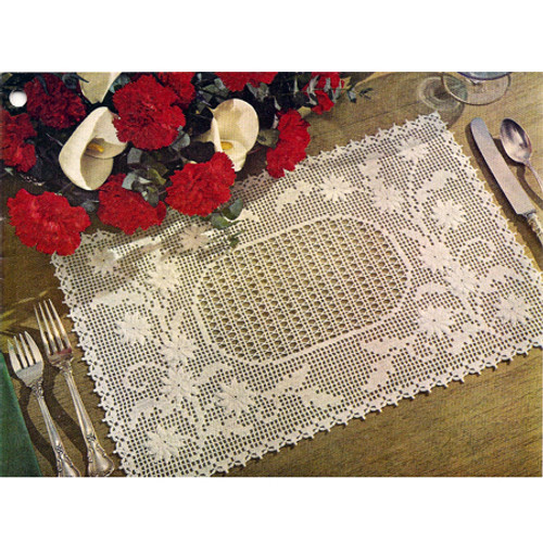 Daisy Filet Crochet placemats Pattern