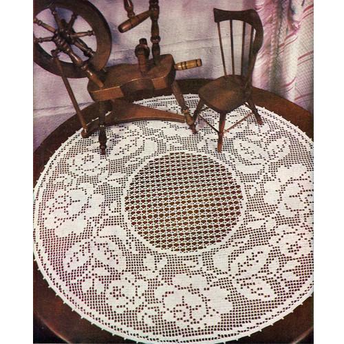 Large Round Rose Filet Crochet Doily Pattern