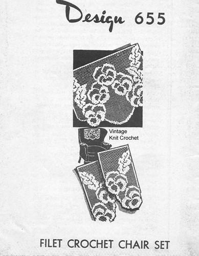 Pansy Filet Crochet Pattern, Chair Set, Doily, Laura Wheeler 655, Mail Order Design