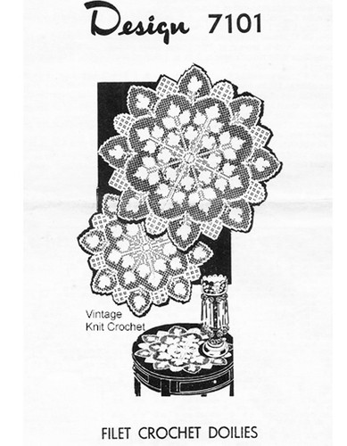 Filet Crochet Centerpiece Doily Pattern, Mail Order 7101