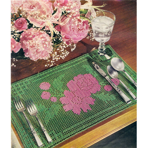 Two Tone Rose Filet Crochet Mats Pattern
