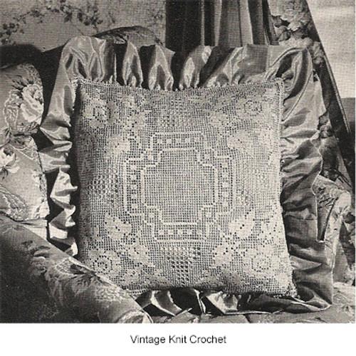 Filet Filet Crochet Rose Pillow Pattern