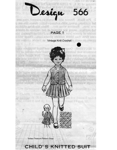 Girls Knitted Suit Pattern, Mail Order Design 565