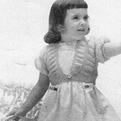Girls Knitted Shrug Pattern, Vintage 1950s