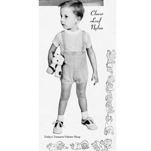 Vintage Toddler Shorts Knitting Pattern with Suspenders