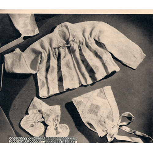 Knitted Baby Argyle Layette Pattern
