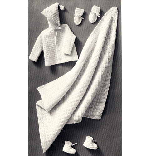 Knitted Baby Set Pattern with Blanket