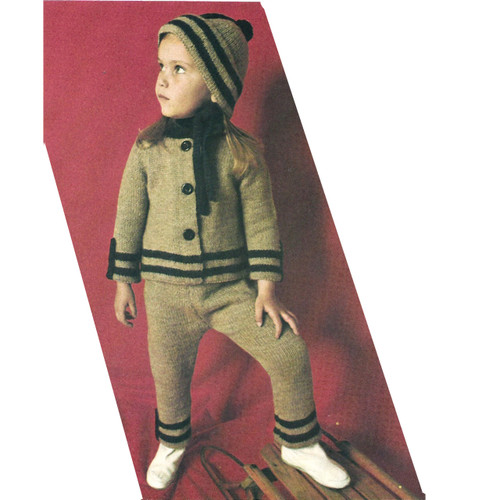 Childs Knitted Winter Suit Pattern, Jacket Pants Hat