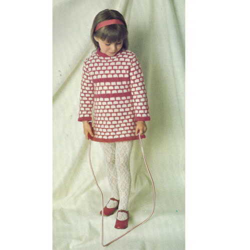 Childs Knitted Dress Pattern, Long Sleeves