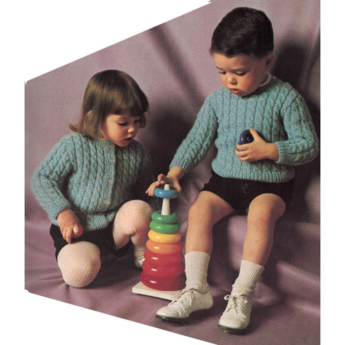 Knitting Pattern Childs Pullover Cardigan from Columbia Minerva