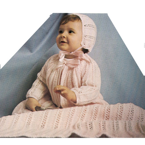 Baby Girl Knit Jacket Bonnet Blanket Pattern from Columbia Minerva