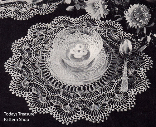 Scalloped hairpin lace doily pattern