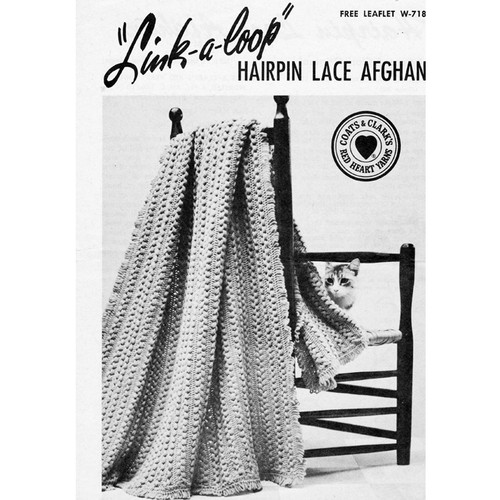 Coats Leaflet W-718 Hairpin Lace Afghan Pattern