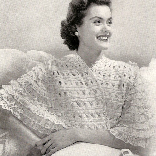 Hairpin Lace Sleeves on Knitted jacket Pattern