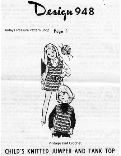 Childs Knitted Top Dress Pattern, Mail Order Design 948