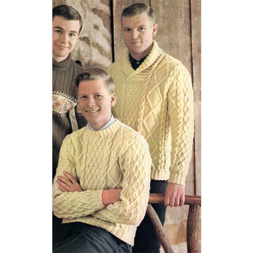 Mans Knitted Aran Sweater Knitting Patter