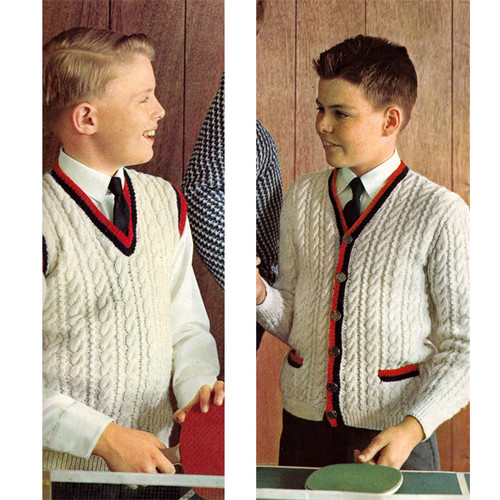 Boys Knitted Cable Cardigan and Pullover Pattern