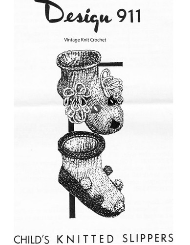 Knitted Childs Puppy Slippers Pattern, Mail Order Design 911