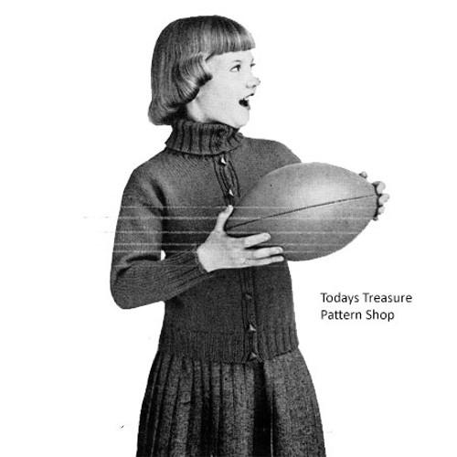 Vintage Girls Turtleneck Cardigan Pattern